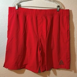 Reebok Colorblock Crimson Drawstring Swim Shorts